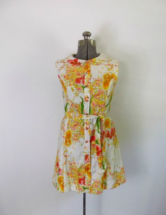 1960s Cotton Floral Daydress / Peter Pan Collar / Sleeveless / Bright Neon Colors