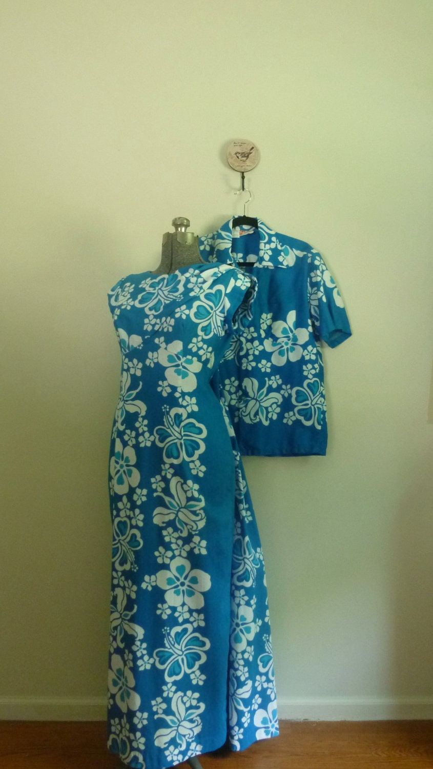 vintage 1960s hawaiian style dress and matching man shirt