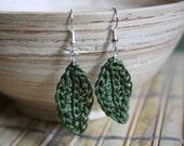 Crochet Olive Leaf Earrings