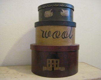 Prim decor stacking boxes, hand stenciled, hand painted.