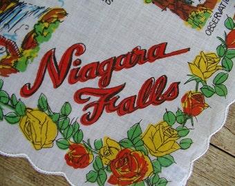 NIAGARA FALLS souvenir hankie vintage 1950s Mint Condition