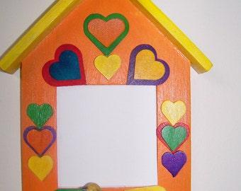 Photo Frame Gift from Child- Insert Child's Photo to Mom/Grandma/Dad/Grandpa- Orange/Yellow Birdhouse/Bird- Handpainted- Can be Personalized