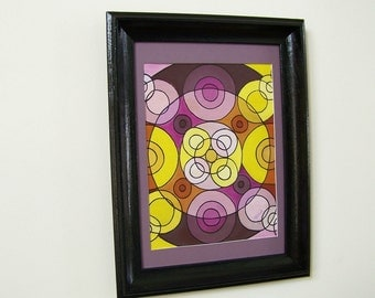 Original Abstract Circle Oil Painting - Retro 1960s Yellow & Purple Kaleidoscope Design - Contrasting Colors- Matted/Framed/Signed