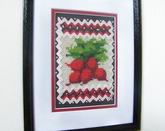 Cross Stitch Red Radishes - Rick Rack & Beads Kitchen Wall Decor - Handmade Vintage 1970s - 9x 12 inches - Matted/Framed