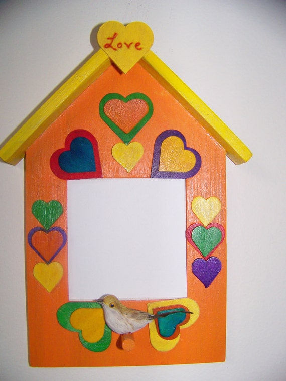 Kids Wood Photo Frame Birdhouse with Hearts - Holiday Gift from Child to Dad/Mom/Grandpa/Grandma - Personalized - Orange/Yellow Handpainted