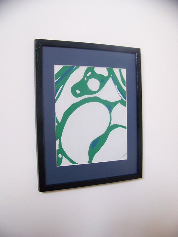 Vintage 1966 Original Abstract Bubbles Screenprint - Cornflower Blue/Kelly Green -  Signed/Matted/Framed -Free Shipping