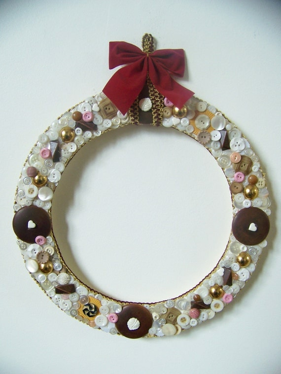 Elegant Christmas Wreath - Beautiful Luminescent Home Decor - Vintage Mother of Pearl & Wood Buttons - Gold/White/Burgundy Bow