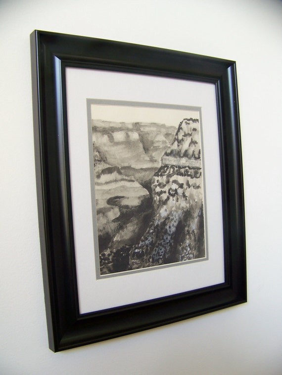 Original Vintage1970 Southwest Pen and Ink Grand Canyon Drawing - Matted and Framed - 11x14 - Free Shipping