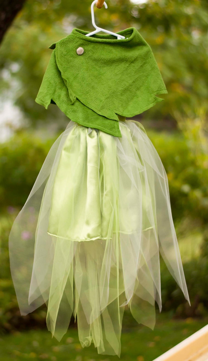 reserved tinkerbell costume with leaf green wrap for melissa