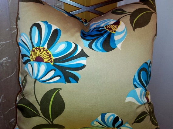 Pillow Cover Amy Butler Cotton Blue Floral with Dark Beige Background