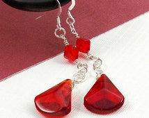 Red Beaded Dangle Earrings, Sterling Silver Earrings, Ruby Red