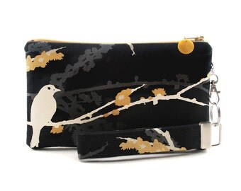 Black clutch - bird purse - small bag - evening bag - Asian wristlet gift set for women - pouch & key fob - fabric purse with yellow flowers