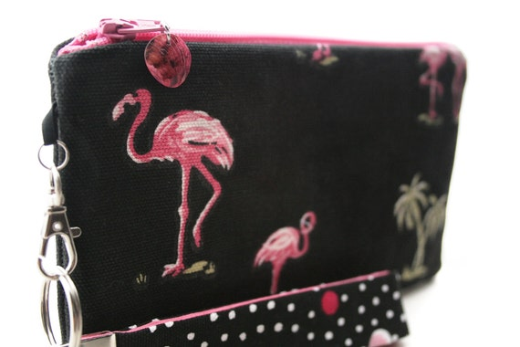 Pink flamingo clutch - black small purse - Florida beach bag for summer - zipper pouch & key fob gift set for women - kitsch fabric wristlet