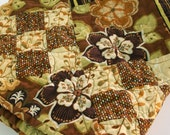 Woodland Throw Quilt Green Brown Patchwork Quilted Earth Garden Quiltsy Handmade FREE U.S. Shipping
