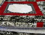 Snowflakes Lap Quilt Red Black White Winter Handmade