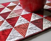 Red White Table Runner-Triangles Handmade Quilted Ready to Ship One of a Kind