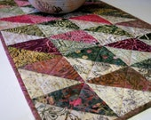 Batik Table Runner Pomegranate Tonga Batik Triangles Handmade Quilted Ready to Ship One of a Kind