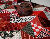 Red Black Table Runner Chevron Triangles Handmade Quilted