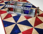 Patriotic Table Runner Pinwheels Stars Americana Handmade Quilted One of a Kind Ready to Ship