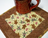 Gingerbread Mug Rug Snack Mat Cookie Mat Quilted Christmas Holiday Winter
