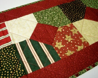 Christmas Table Runner Quilted Christmas Punch Holiday Quiltsy Handmade FREE U.S. Shipping