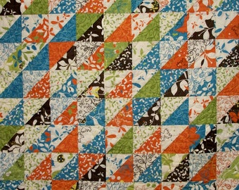 Butterfly Quilt Triangles Chrysalis Tangerine Turquoise Lime Chocolate Brown Quilted Quiltsy Handmade FREE U.S. Shipping