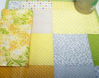 Sunkissed Placemats Napkins Quilted Cheerful Citrus Yellow Green Orange Gray Set of 2 Reversible Quiltsy Handmade FREE U.S. Shipping
