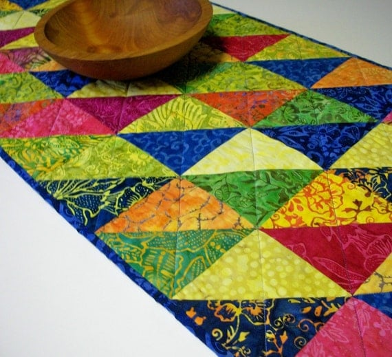 Bright Table Runner Batik Lollipop Triangles Tonga Handmade Quilted