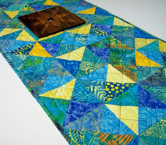 Table Runner Batik Triangles Island Punch Tropical Tonga Handmade Quilted Ready to Ship One of a Kind