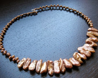 Bronze pearl mix necklace