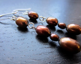 Copper-brown freshwater pearl earrings