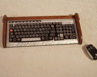 Keyboard Mouse Combo - Antique looking Victorian Styling - Steampunk-Typewriter-Silver Leaf Style-