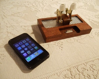 iPhone - iPod Dock -Charger and Sync Station - FREE SHIPPING Today - Oak - Brass style V1- Deluxe - Silver Engine Turned