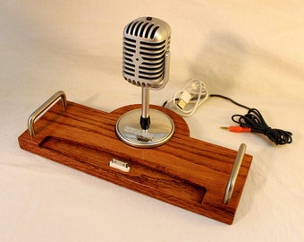 iPad - iPhone - iPod - Dock - Sync and Charging Station- Oak - Microphone - iPad Dock  IPhone5 Dock iPod