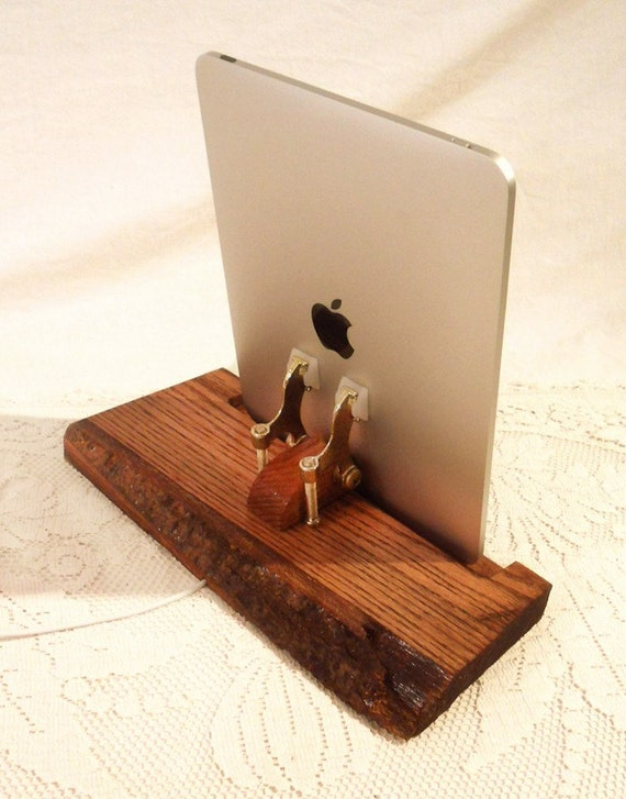 iPad - iPhone - iPod - Dock - Sync and Charging Station- Solid Natural Oak -One of a Kind.. iPad Dock iPhone Dock