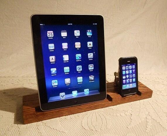 DUAL Unit - iPad - iPhone - iPod - Dock - Sync and Charging iDock Station - SUPER SALE Today - Custom Oak Model.. iPad Dock iPhone4 Dock