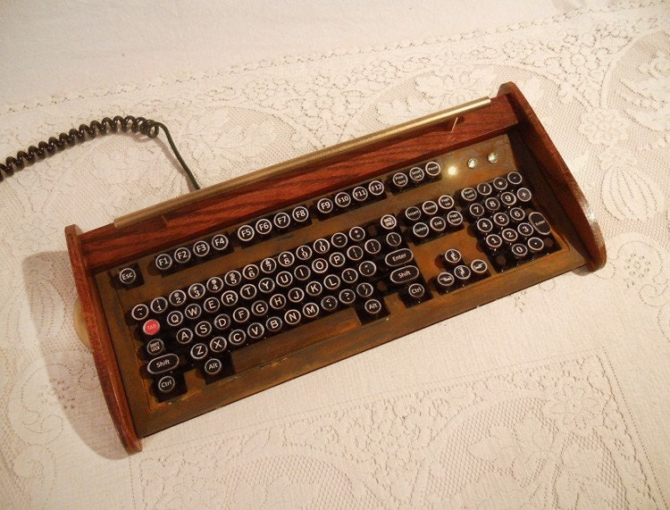 Antique Looking Ibm Clicky Keyboard Victorian Steampunk