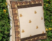 Decorative Pillow with Golden Yellow Honey Bee Embroidery Golden Brown Plaid Tape Bee Decorative Trim and Burlap Accents OOAK