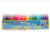 Mini Marker 30 Pen Set - Water Base, Washable, Non-toxic with Firm Fibre Point