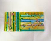 Blue, Yellow, Purple and Green Handmade Fused Glass Art Sheet (Deborah)