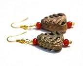 African Bead Earrings with Red Accents (Sharmila)