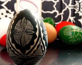 Easter - Hand Scratched Real Duck Egg Lithuanian Carved Unique Present Geometric Pysanky - Stand or Ornament