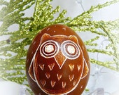 Seen on the Martha Stewart Show - Handetched Real Hollow Egg - Lithuanian - Cute Owl - Ornament Convertible - Brown - Holidays - Pysanky