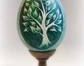 Easter Egg - Hand Scratched Real Turkey Egg Unique ETCHED Lithuanian Carved Present Green New Age Tree - Pysanky - Stand or Ornament
