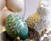Easter Hand Scratched Egg Unique Lithuanian Present Tree Carved Pysanky - European Poland Ukraine - Stand or Ornament - Christmas Easter