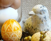 Seen on the Martha Stewart Show - Lithuanian European Chicken Egg Scratched Wheat Pysanky Handcrafted - Stand or Ornament - Easter