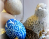 Easter Egg - Lithuanian European Chicken Egg Scratched Geometric Blue Ocean White Pysanky Handcrafted - Stand or Ornament