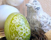 Spring Easter Egg Flowers - Chicken - Key Lime Green - Lithuanian Pysanky Present - Real Egg - Free Wooden Stand