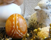 Easter - Seen on the Martha Stewart Show - Lithuanian European Chicken Egg Scratched REAL Geometric Pysanky Handcrafted - Stand or Ornament