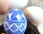 Seen on the Martha Stewart Show - Hand Etched Egg Geometric Egg Scratched European Carved Egg Art Free Wooden Stand or Ornament